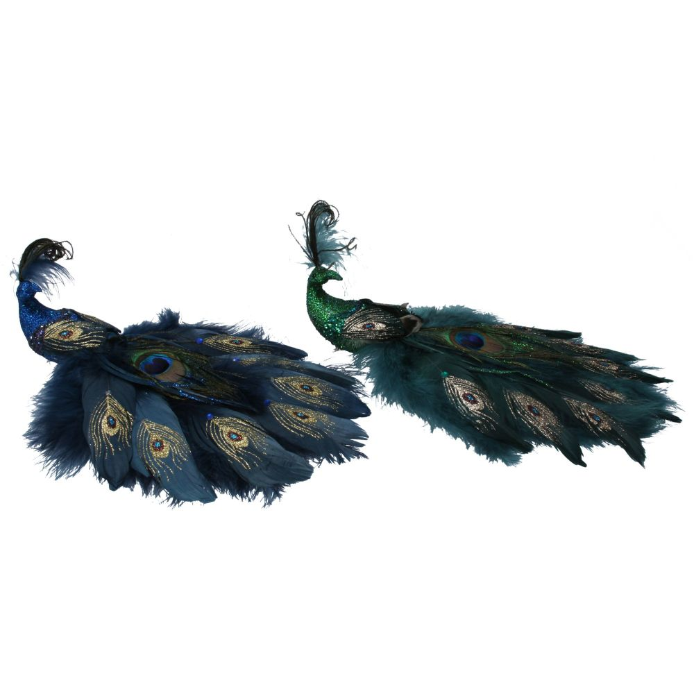 Gisela Graham Large Feather Peacock Clip - 2 Assorted