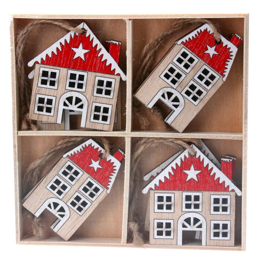 Gisella Graham Nordic Wooden House Decorations - Box of 8