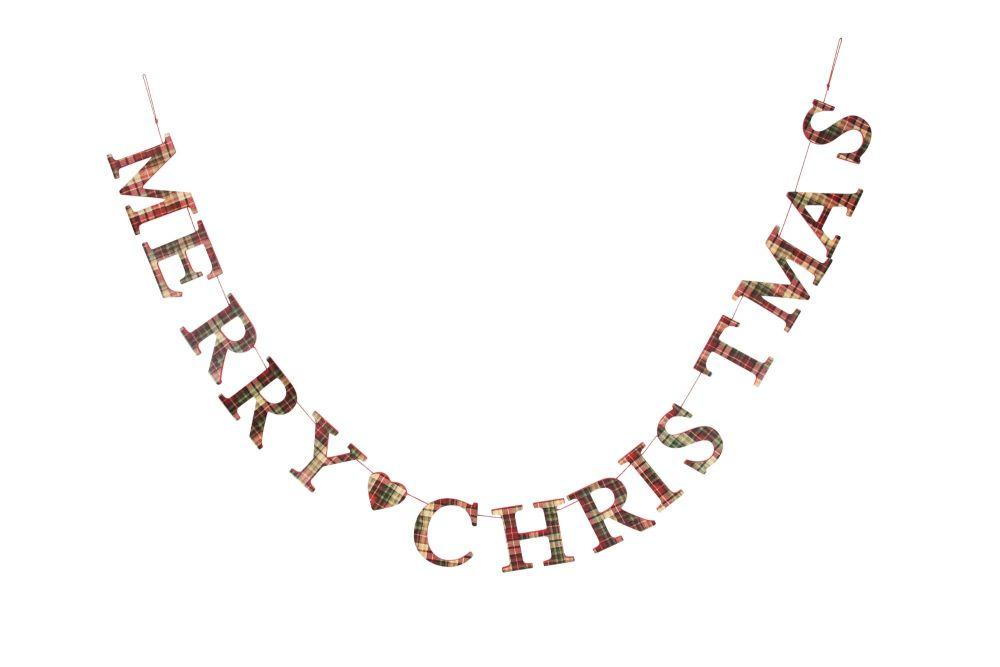Gisela Graham Tartan Merry Christmas Garland