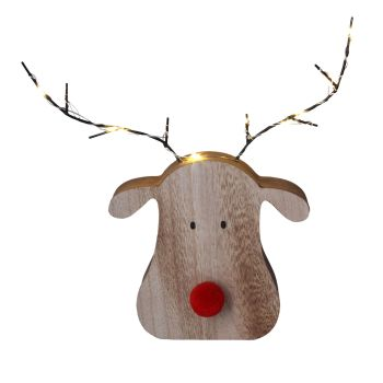 Gisela Graham Wooden LED Reindeer Head Ornament