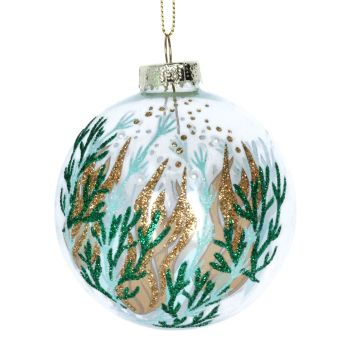 Gisela Graham Clear Glass Bauble with Seaweed Design