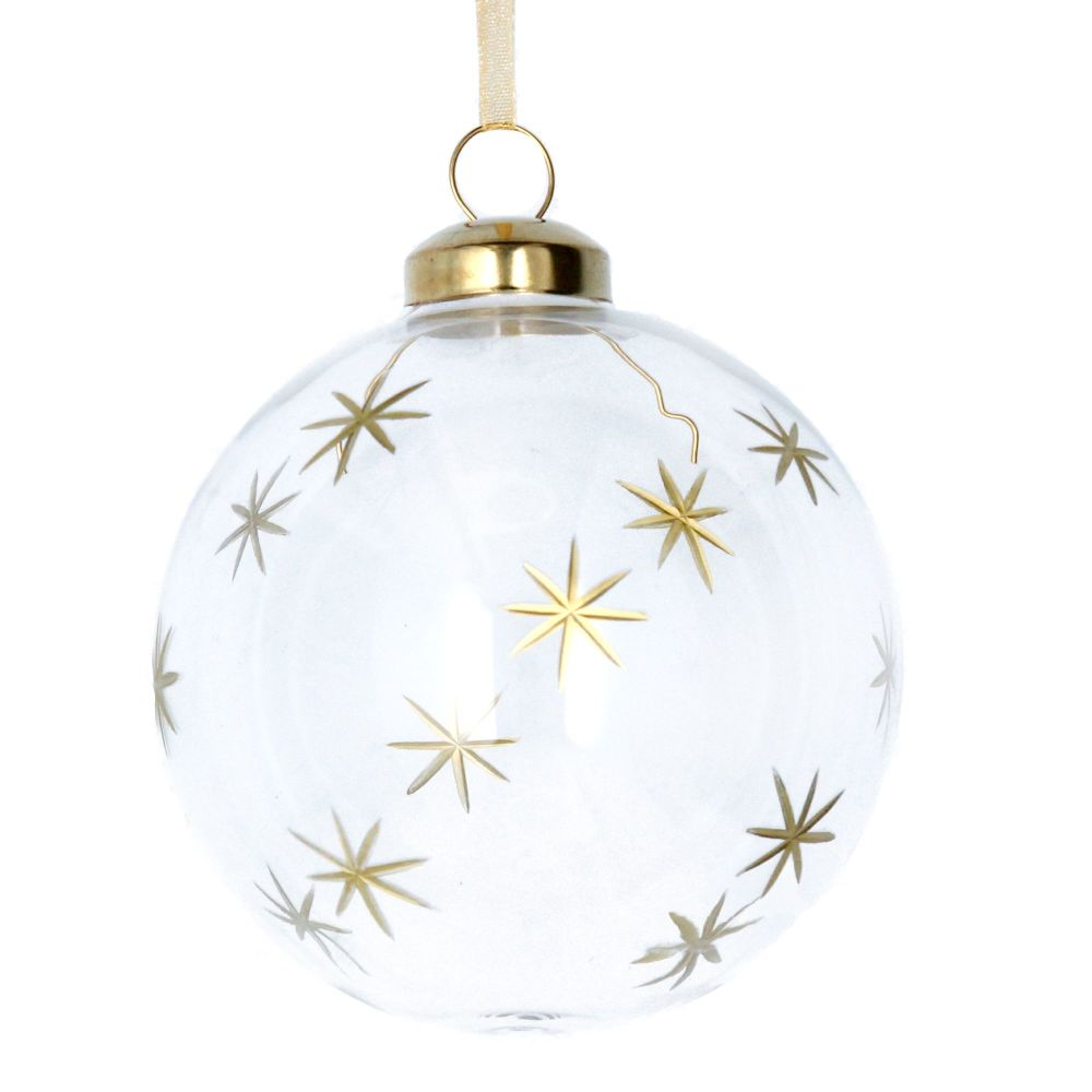 Gisela Graham Clear Glass Bauble with Gold Etched Stars