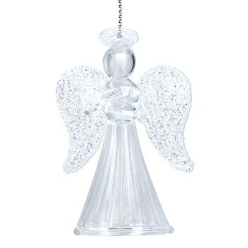 Gisela Graham Clear and Glitter Glass Angel Decoration