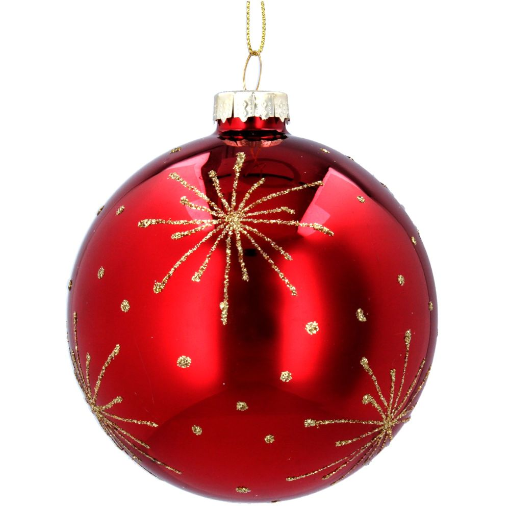 Gisela Graham Red Glass Bauble with Gold Starburst