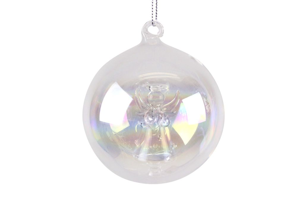 Gisela Graham Iridescent Glass Bauble with Angel