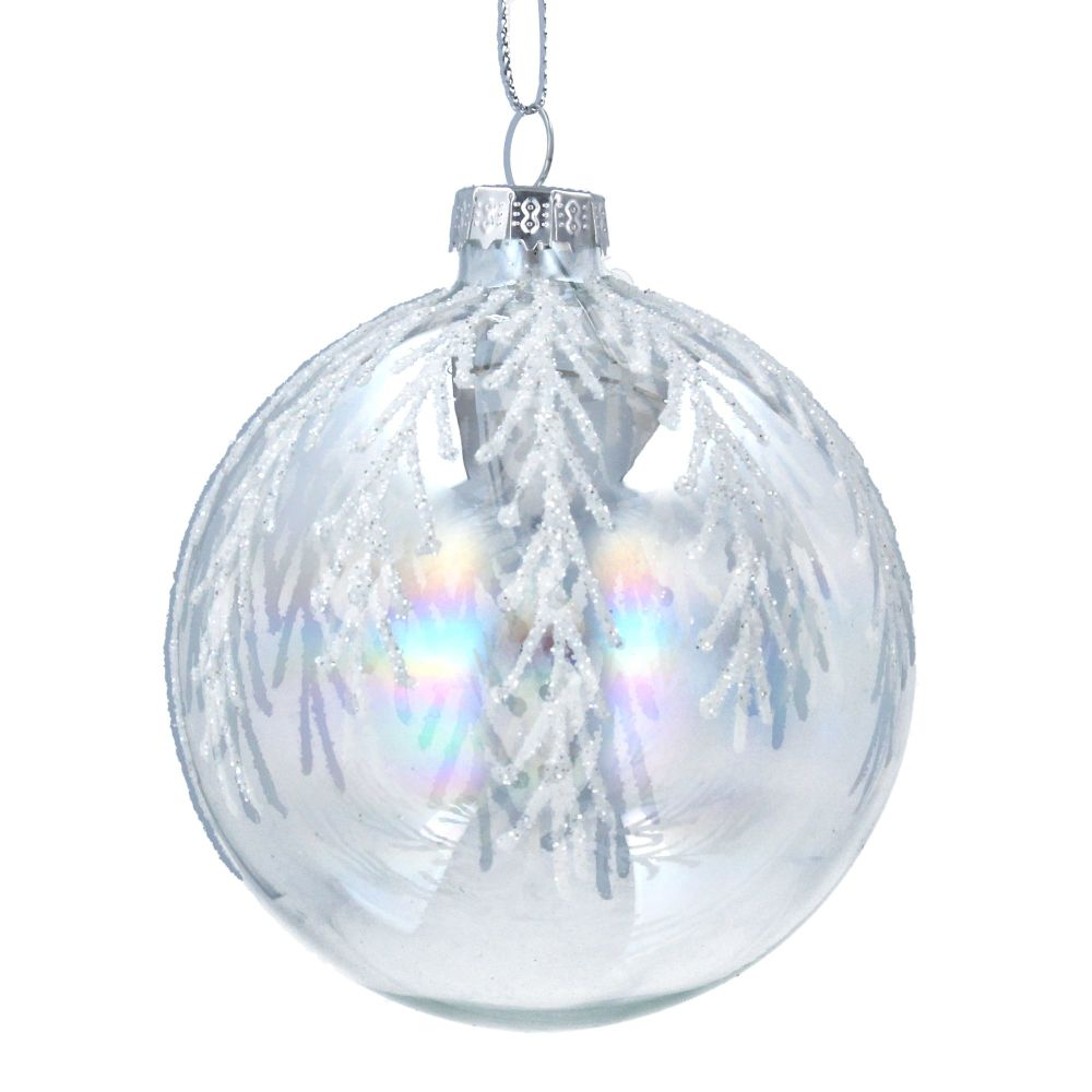 Gisela Graham Iridescent Glass Bauble with Silver Glitter Twigs