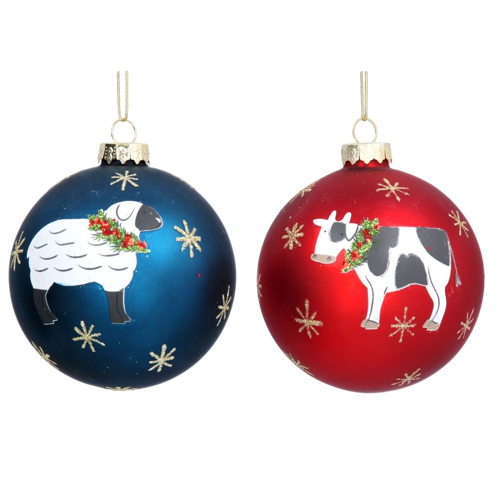 Gisela Graham Matte Glass Bauble with Farmyard Animals - 2 Assorted