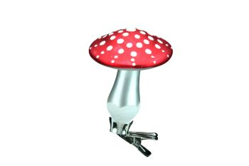 Gisela Graham Red and White Clip on Glass Toadstool