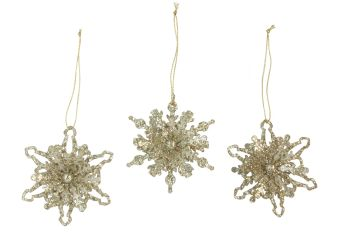 Gisela Graham Gold Glitter Snowflake Decoration