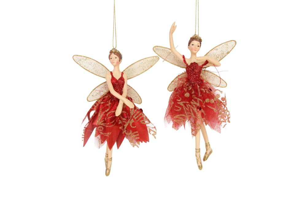 Gisela Graham Red and Gold Resin Fairy Decoration - 2 Assorted