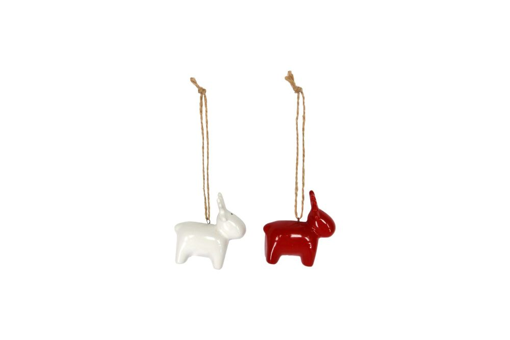 Gisela Graham Red and White Ceramic Moose Decorations - 2 Assorted