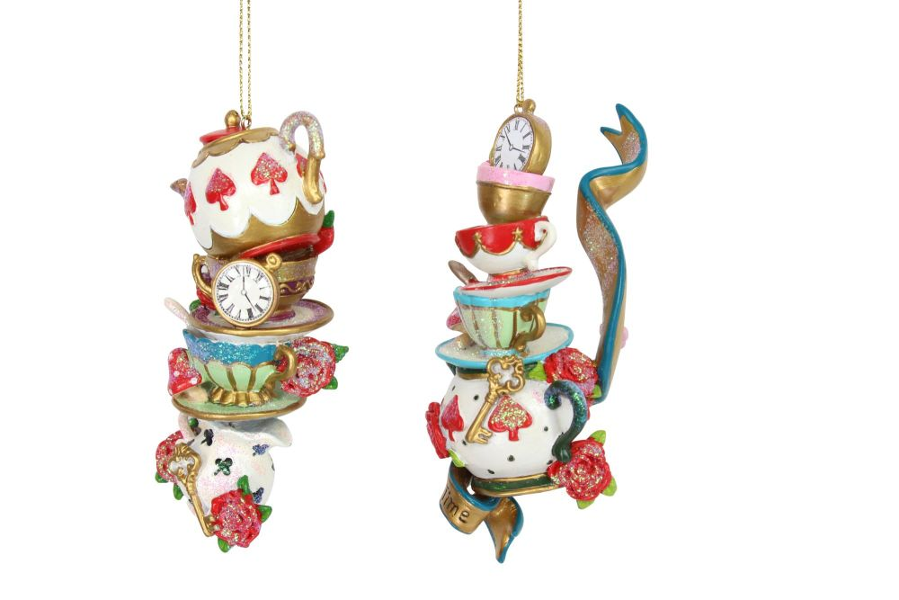 Gisela Graham Tea Cup Stack Decoration - Alice in Wonderland