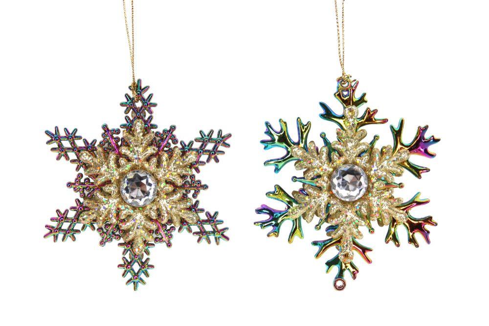 Gisela Graham Jewel Peacock Snowflakes - Set of 22