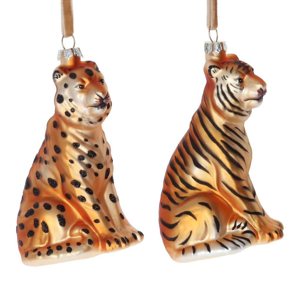 Gisela Graham Cheetah and Tiger Decoration - 2 Assorted