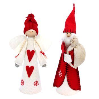 Gisela Graham Nordic Felt Santa Tree Topper - 2 Assorted