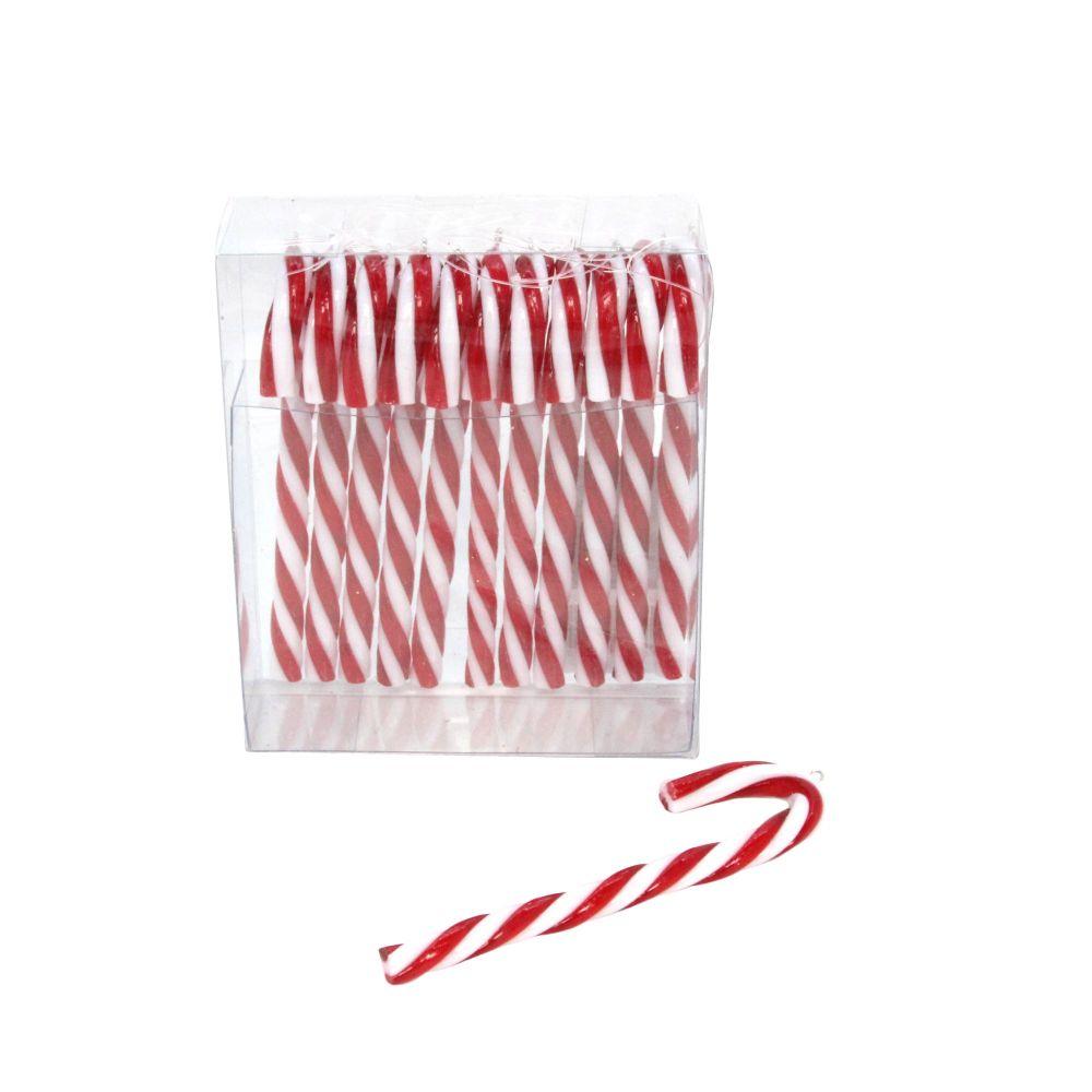 Gisela Graham Acrylic Candy Cane Hanging Decoration - Box of 12