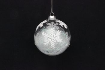Gisela Graham Glass Snowflake Bauble with Iridescent Tinsel