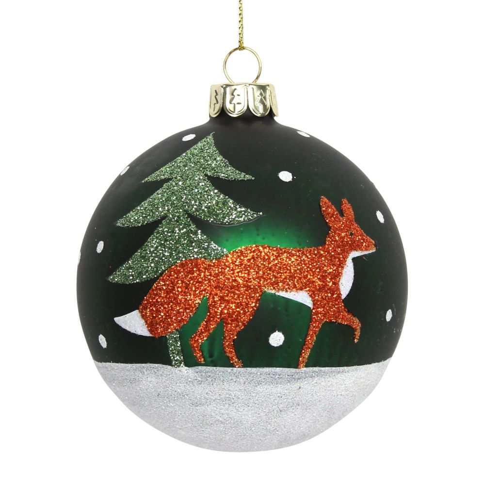 Gisela Graham Green Bauble with Glittered Fox Design