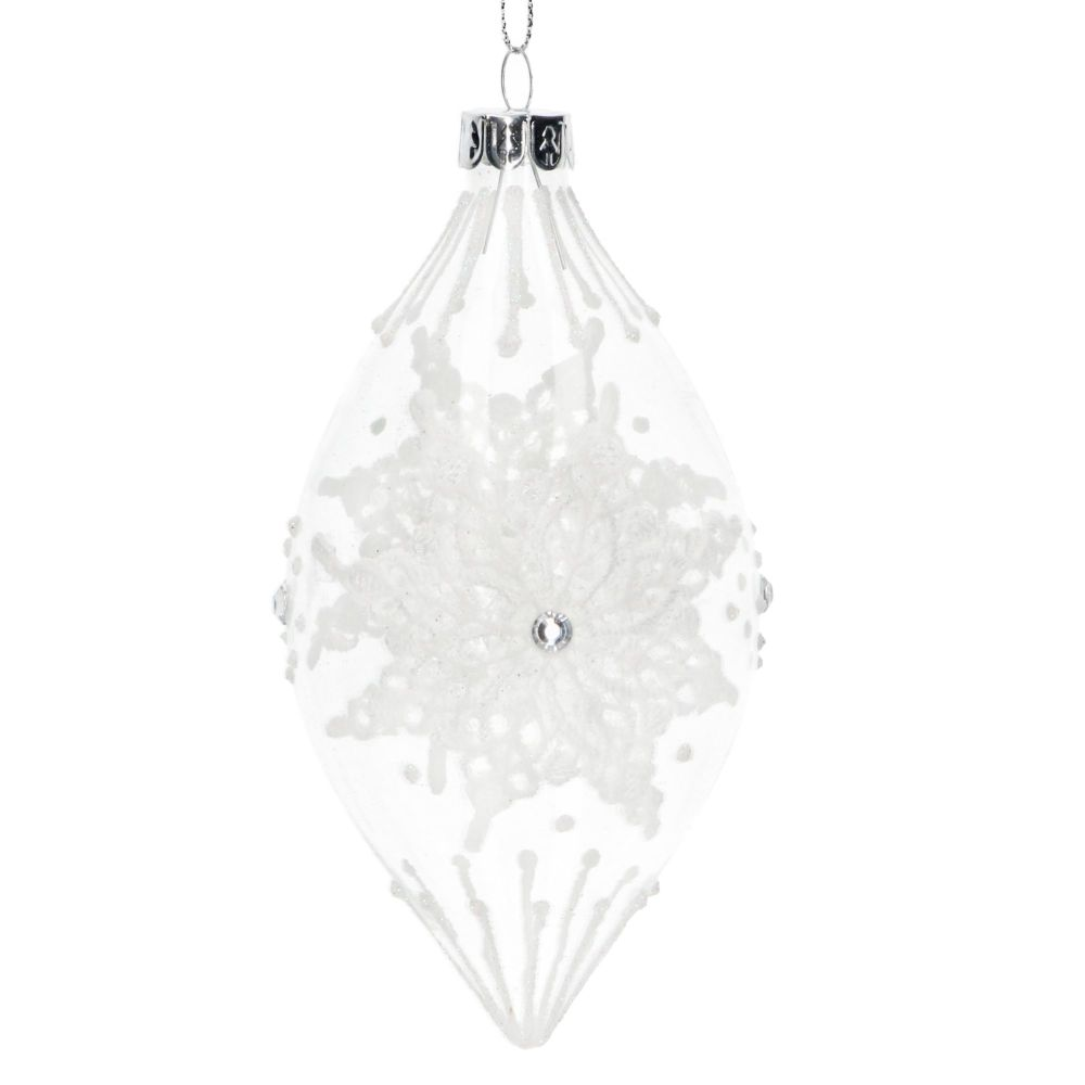 Gisela Graham Clear Glass Teardrop with Lace Snowflake