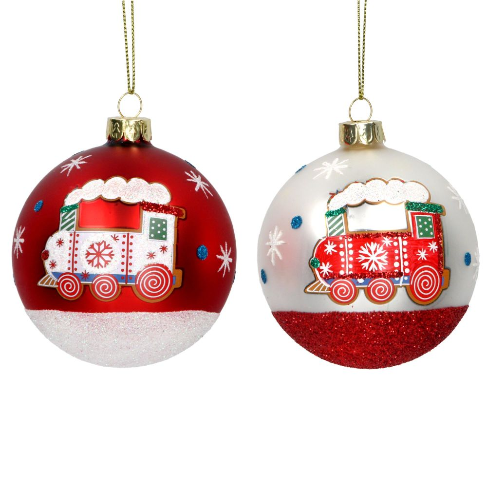 Gisela Graham Painted Train Bauble - 2 Assorted