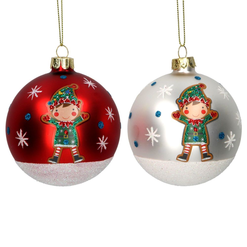 Gisela Graham Painted Elf Bauble - 2 Assorted