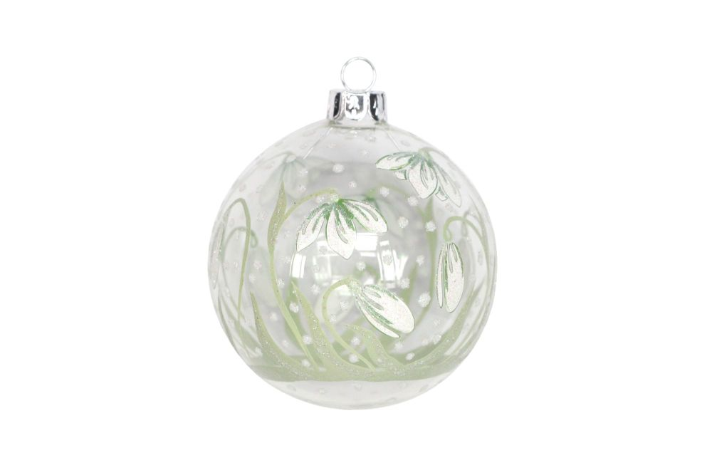 Gisela Graham Clear Glass Bauble with Painted Snowdrops