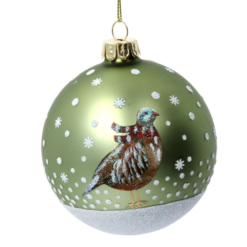 Gisela Graham Matte Green Bauble with Partridge