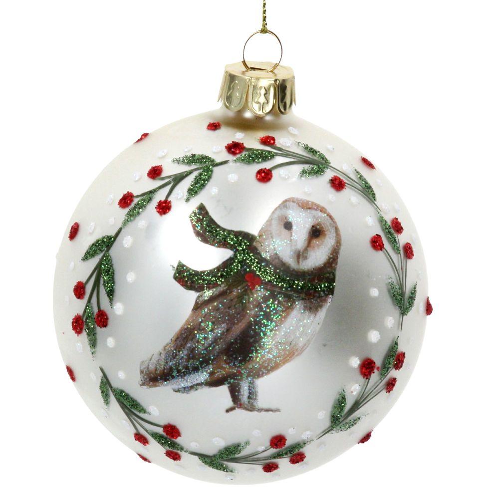 Gisela Graham Matte White Glass Owl Bauble
