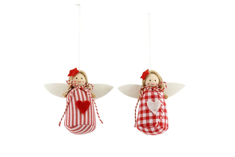 Gisela Graham Red and White Check Fabric Fairies - Set of 2