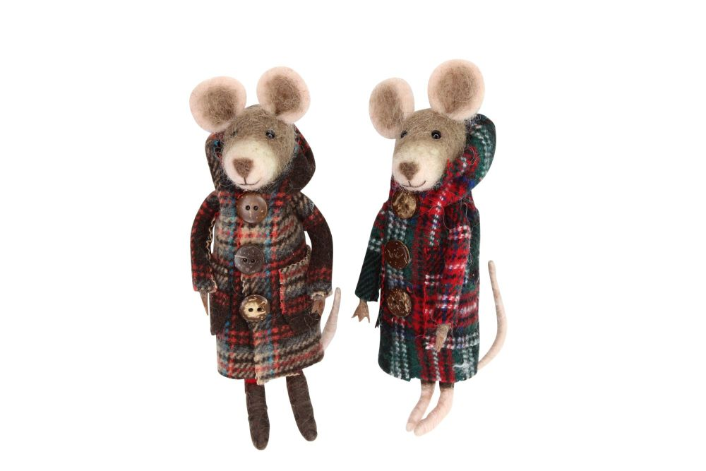 Gisela Graham Felt Mouse in Tartan Coat