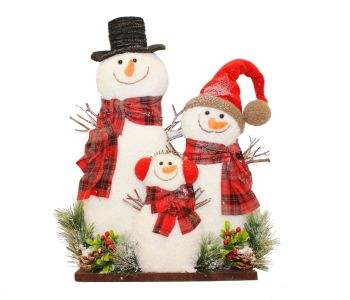 Fluffy Snowman Family Ornament