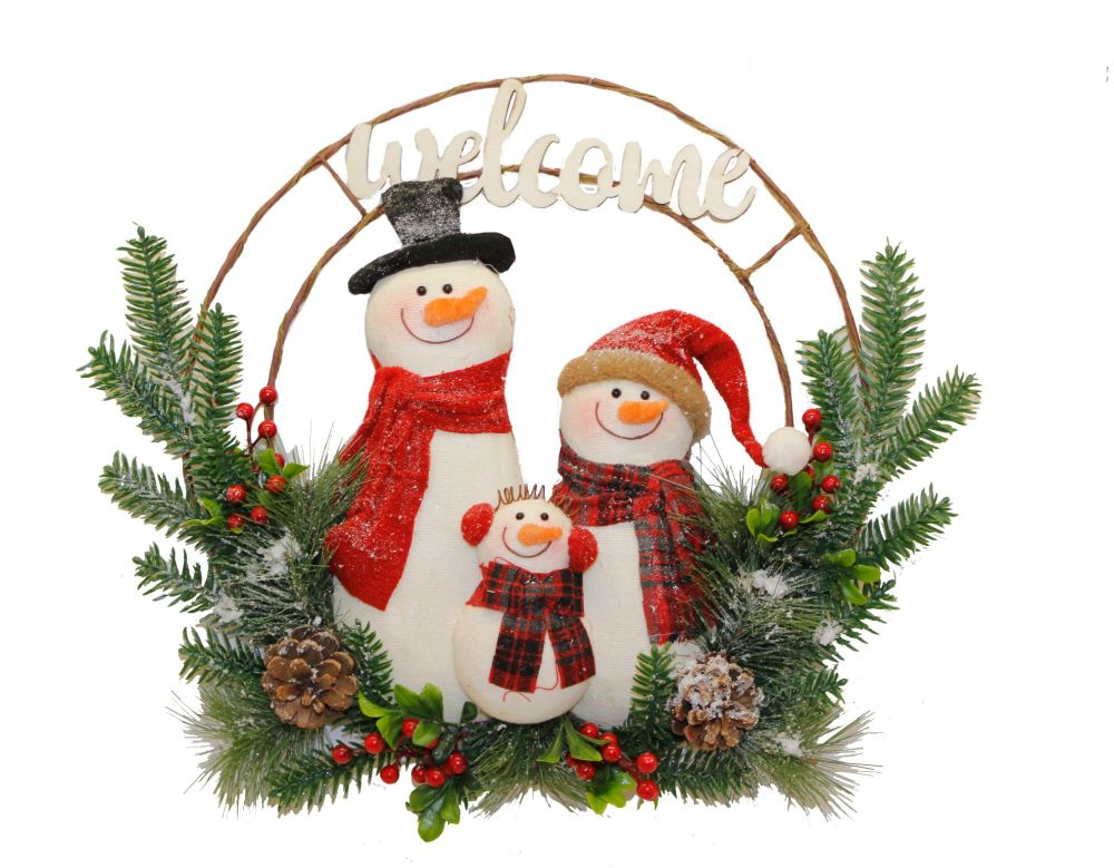 Snowman Family 'Welcome' Wreath