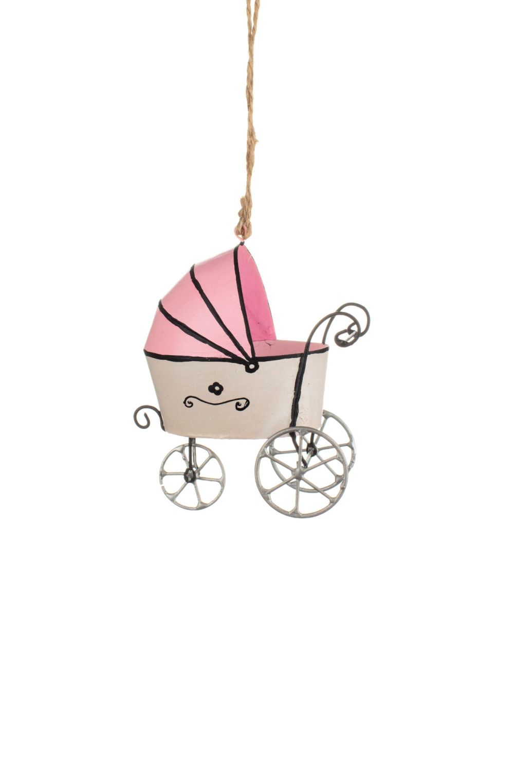 Baby's First Christmas Pink Pram Decoration