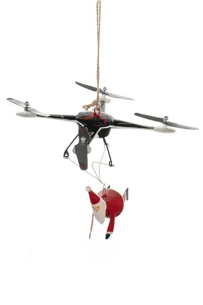 Shoeless Joe Santa on a Drone Decoration