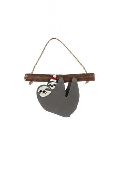 Shoeless Joe Christmas Sloth and Baby Decoration