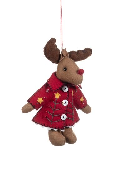 Shoeless Joe Reindeer in Red Jacket Felt Decoration