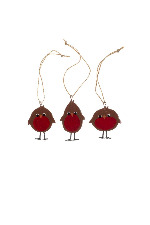 Shoeless Joe Set of 3 Cheeky Robin Decorations