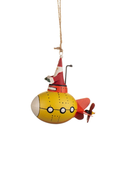 Shoeless Joe Santa in a Yellow Submarine Decoration