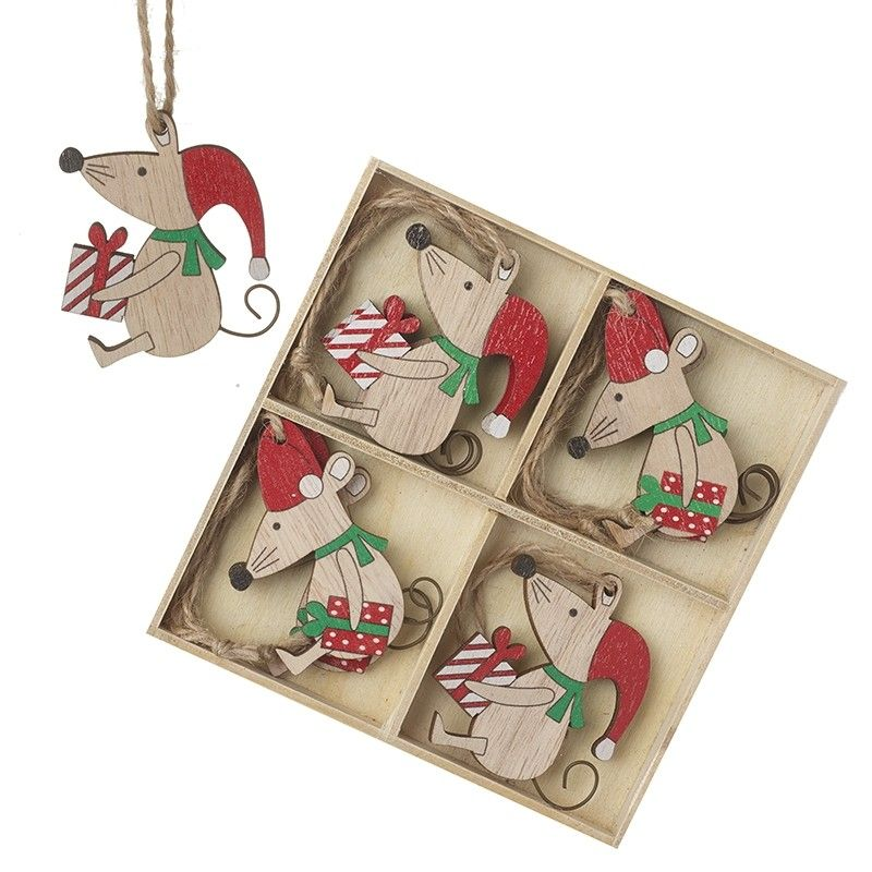 Box of 8 Hanging Wooden Christmas Mice Decorations