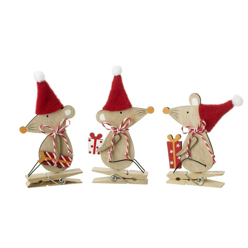 Set of Three Wooden Christmas Mice Peg Decorations