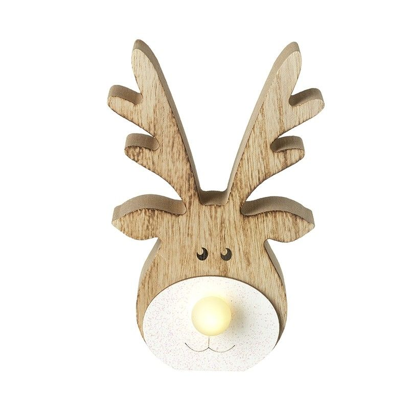Wooden LED Reindeer with Light Up Nose Ornament
