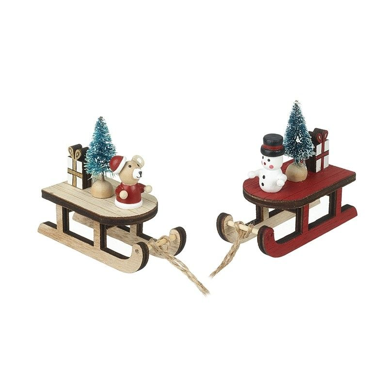 Set of Two Wooden Sledge Hanging Ornaments