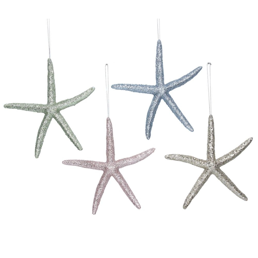 Gisela Graham Pastel Glitter Starfish Decorations- 4 Assorted