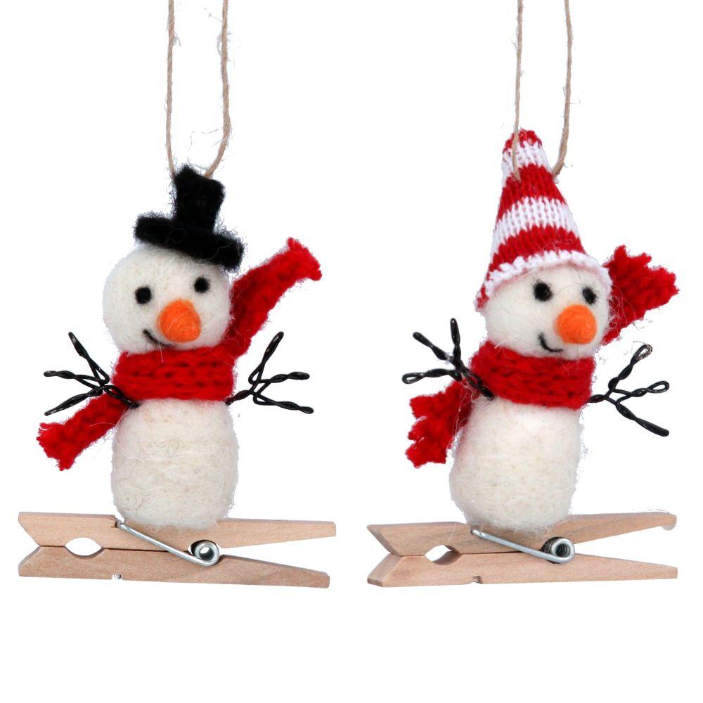 Gisela Graham Wool Snowmen Peg Decorations - Set of Two
