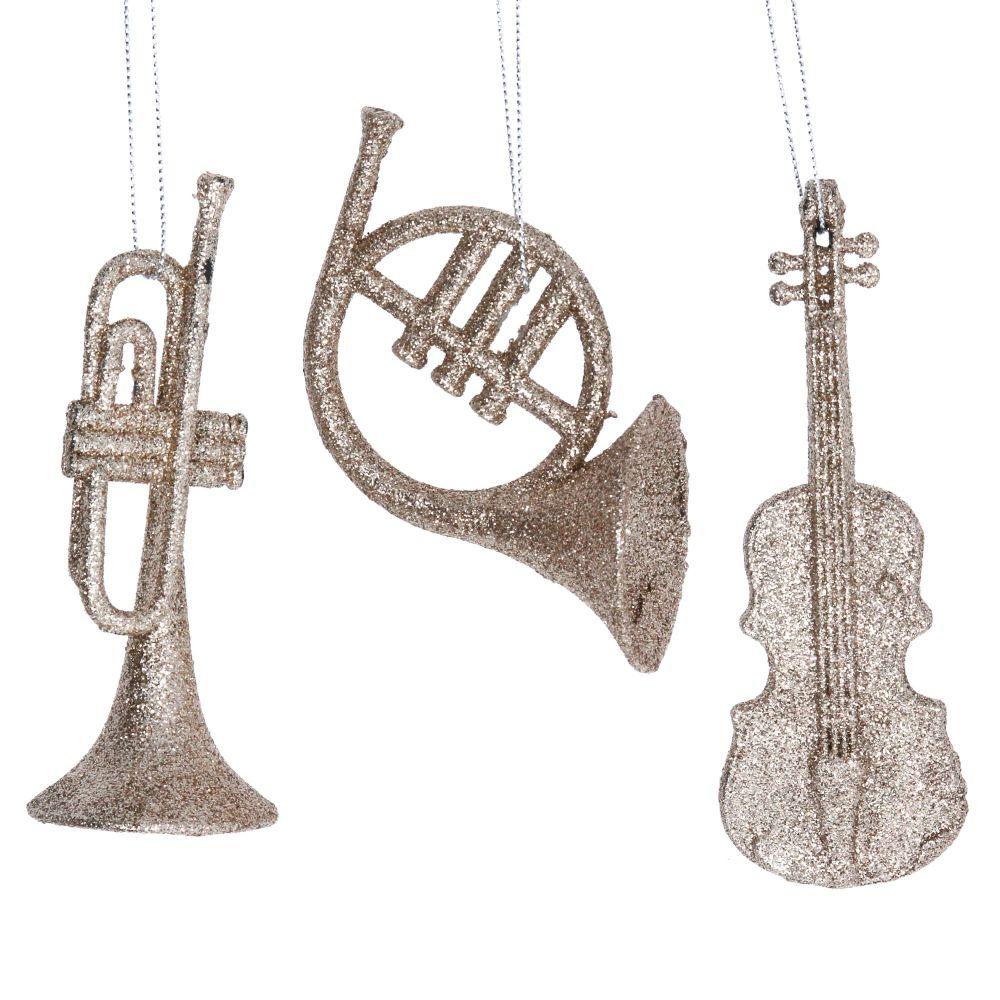 Gisela Graham Gold Glitter Instrument Decorations - Set of 3