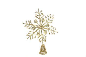 Gisela Graham Gold Glitter Snowflake Tree Topper