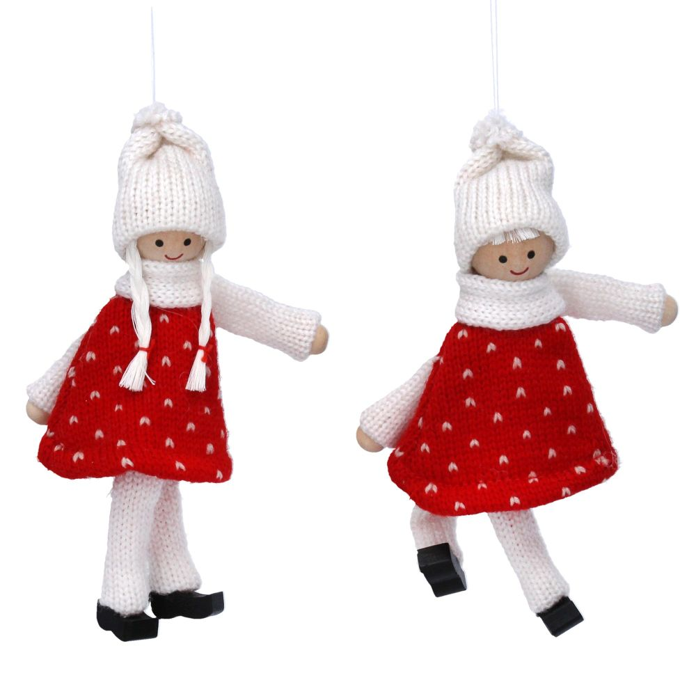 Gisela Graham Set of Two Knitted Scandi Doll Decorations