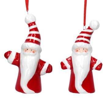 Gisela Graham Ceramic Striped Hat Santa Decoration