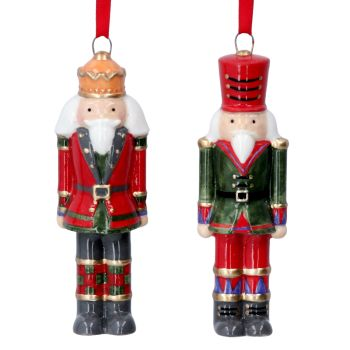 Gisela Graham Ceramic Nutcracker Decorations- 2 Assorted
