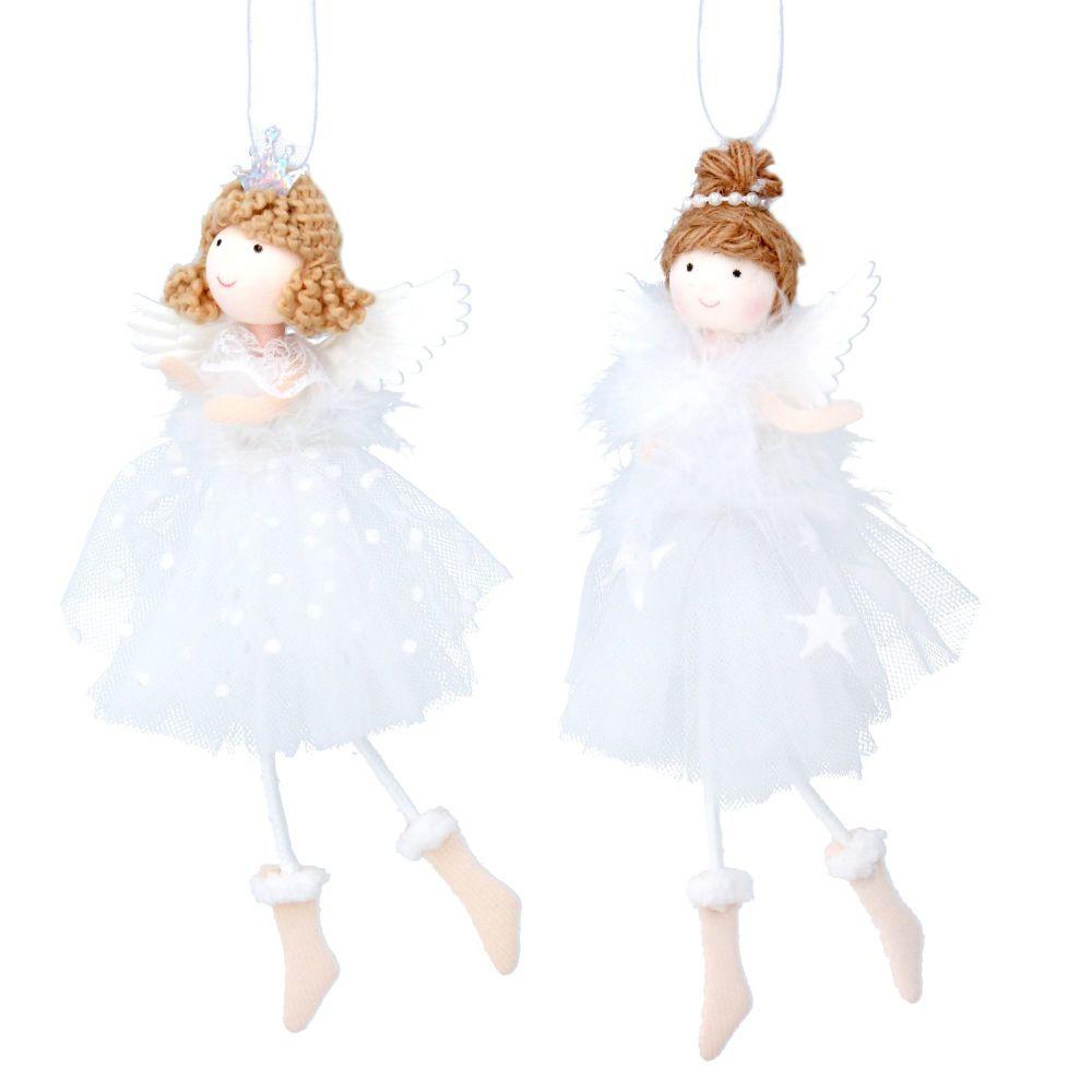 Gisela Graham White Fabric Fairy Decorations - Set of 2